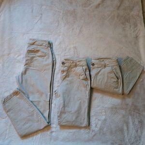 Khaki mid-rise skinny pants